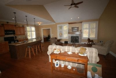 Open plan kitchen, dining area and living room