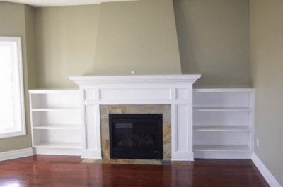 Fireplace in an empty room