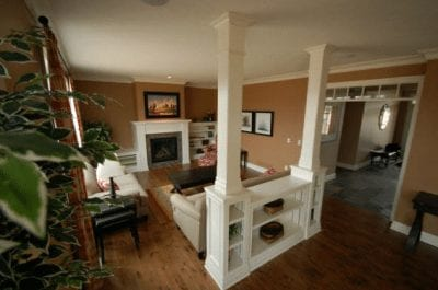 Great room with a large fireplace