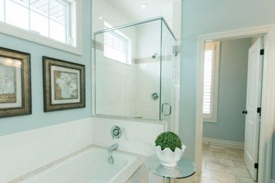 Interior view of bathroom bathtub and shower